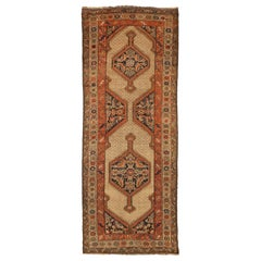 Antique Persian Malayer Rug with Black & Red Medallions on Beige Center Field
