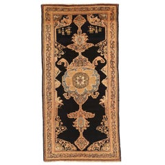 Antique Persian Malayer Rug with Blue & Pink Floral Medallions on Center Field