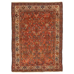 Antique Persian Malayer Rug with Blue and Red Floral Design Patterns