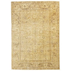 Antique Persian Malayer Rug with Brown and Beige Flower Motifs on Ivory Field