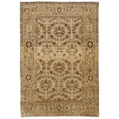 Antique Persian Malayer Rug with Brown and Black Floral Details on Ivory Field