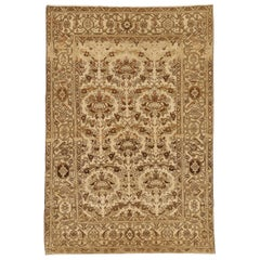 Antique Persian Malayer Rug with Brown & Black Botanical Details on Beige Field