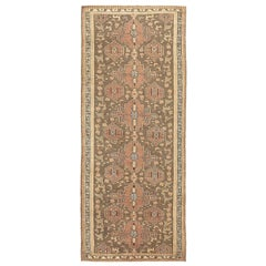 Antique Persian Malayer Rug with Brown & Black Tribal Medallions on Beige Field