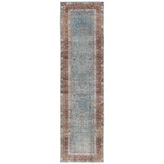 Antique Persian Malayer Rug with Floral Design in Blue and Brown Tones