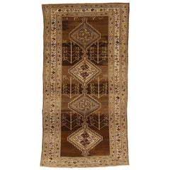 Antique Persian Malayer Rug with Gray and Brown Diamond Medallions
