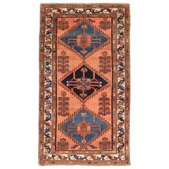 Antique Persian Malayer Rug with Navy & Blue Diamond Medallions