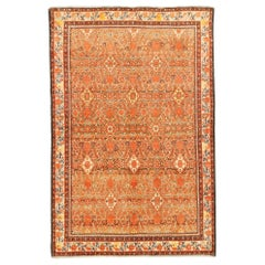 Antique Persian Malayer Rug with Orange and White Flower Details All-Over