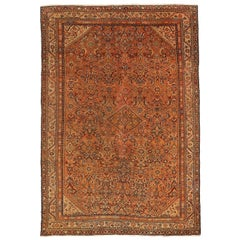 Antique Persian Malayer Rug with Orange & Navy Blue Floral Details All-Over
