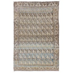 Antique Persian Malayer Rug with Paisley Designs in Taupe, Brown, and Blue