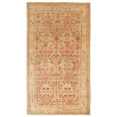 Antique Persian Malayer Rug with Red and Beige Floral Details on Ivory Field