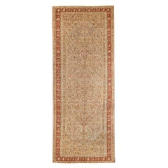 Antique Persian Malayer Rug with Red & Brown Tribal Details on Ivory Field