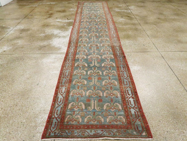 Hand-Knotted Antique Persian Malayer Runner For Sale