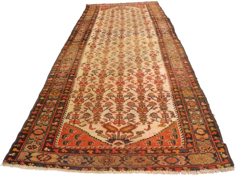 Hand-Knotted Antique Persian Malayer Runner, Hallway Runner For Sale