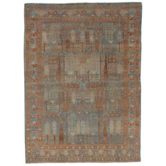 Antique Persian Malayer Runner, Handmade Oriental Rugs Caramel Light Blue, Cream