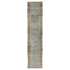 Antique Persian Malayer Runner in Gray, Blue, and Red with All-Over Design