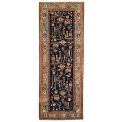Antique Persian Malayer Runner Rug with Animal and Geometric Patterns