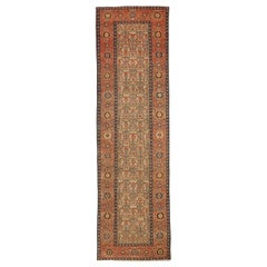 Antique Persian Malayer Runner Rug with Beige and Orange Floral Medallions