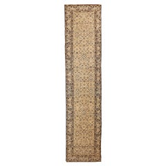 Antique Persian Malayer Runner Rug with Black and White Botanical Details