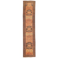 Antique Persian Malayer Runner Rug with Black and Beige Floral Details