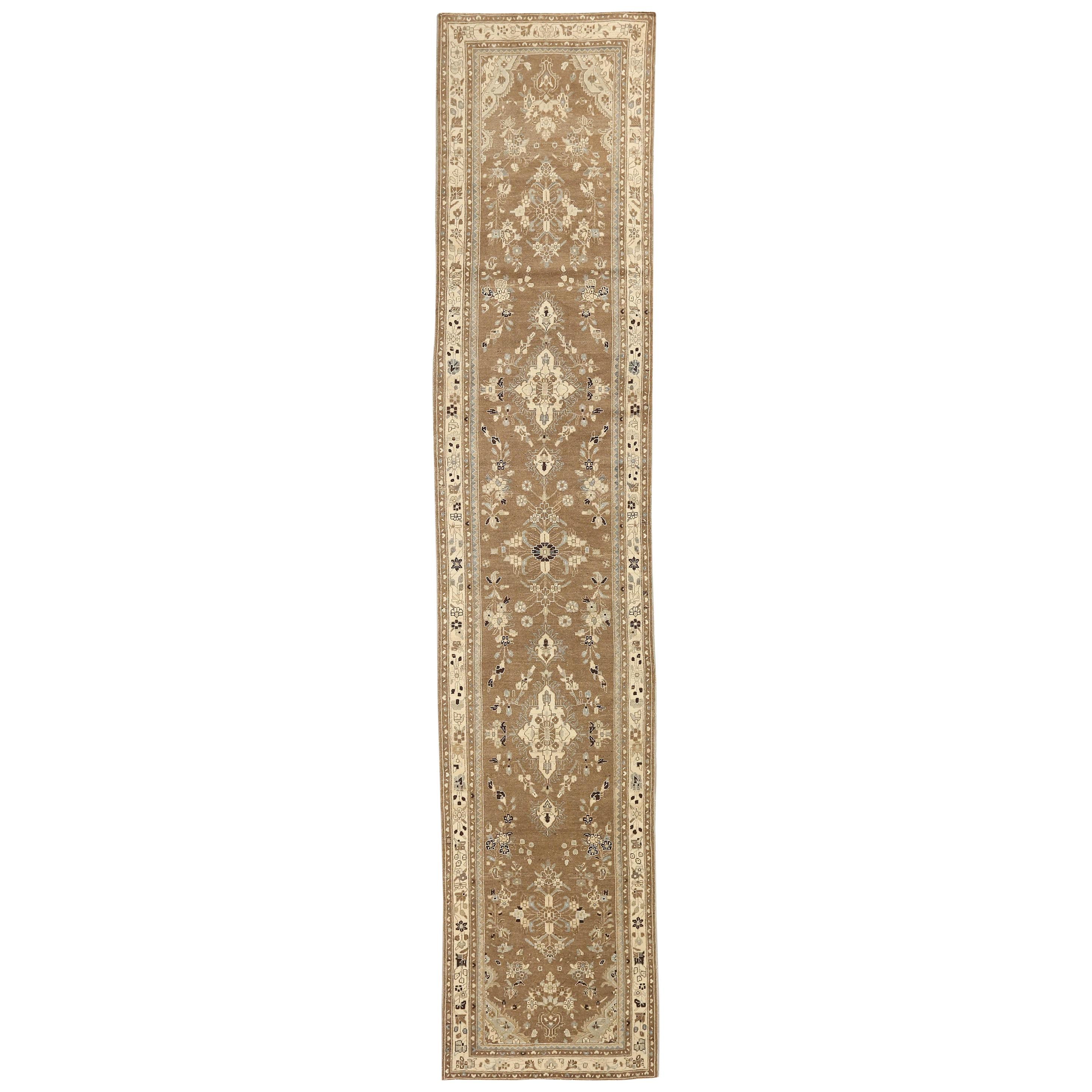 Antique Persian Malayer Runner Rug with Black and Ivory Floral Patterns