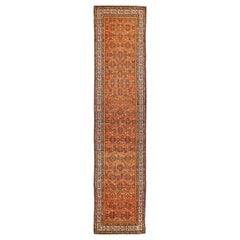 Antique Persian Malayer Runner Rug with Blue and White Flower Patterns