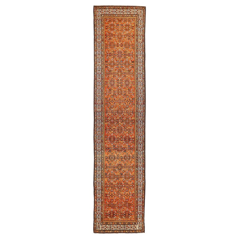 Antique Persian Malayer Runner Rug with Blue and White Flower Patterns For Sale