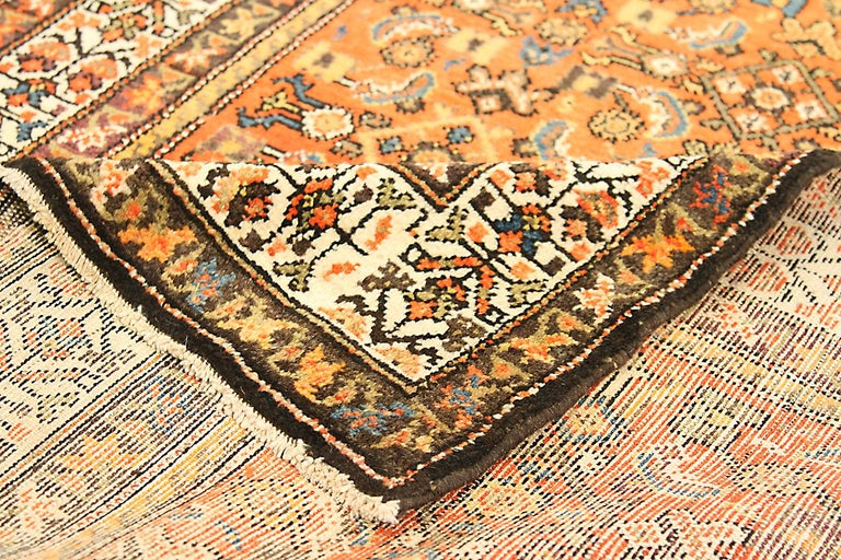 Hand-Woven Antique Persian Malayer Runner Rug with Blue and White Flower Patterns For Sale
