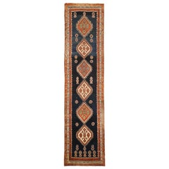 Antique Persian Malayer Runner Rug with Brown and Ivory Medallions