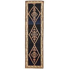 Antique Persian Malayer Runner Rug with Floral Details on Black and Ivory Field