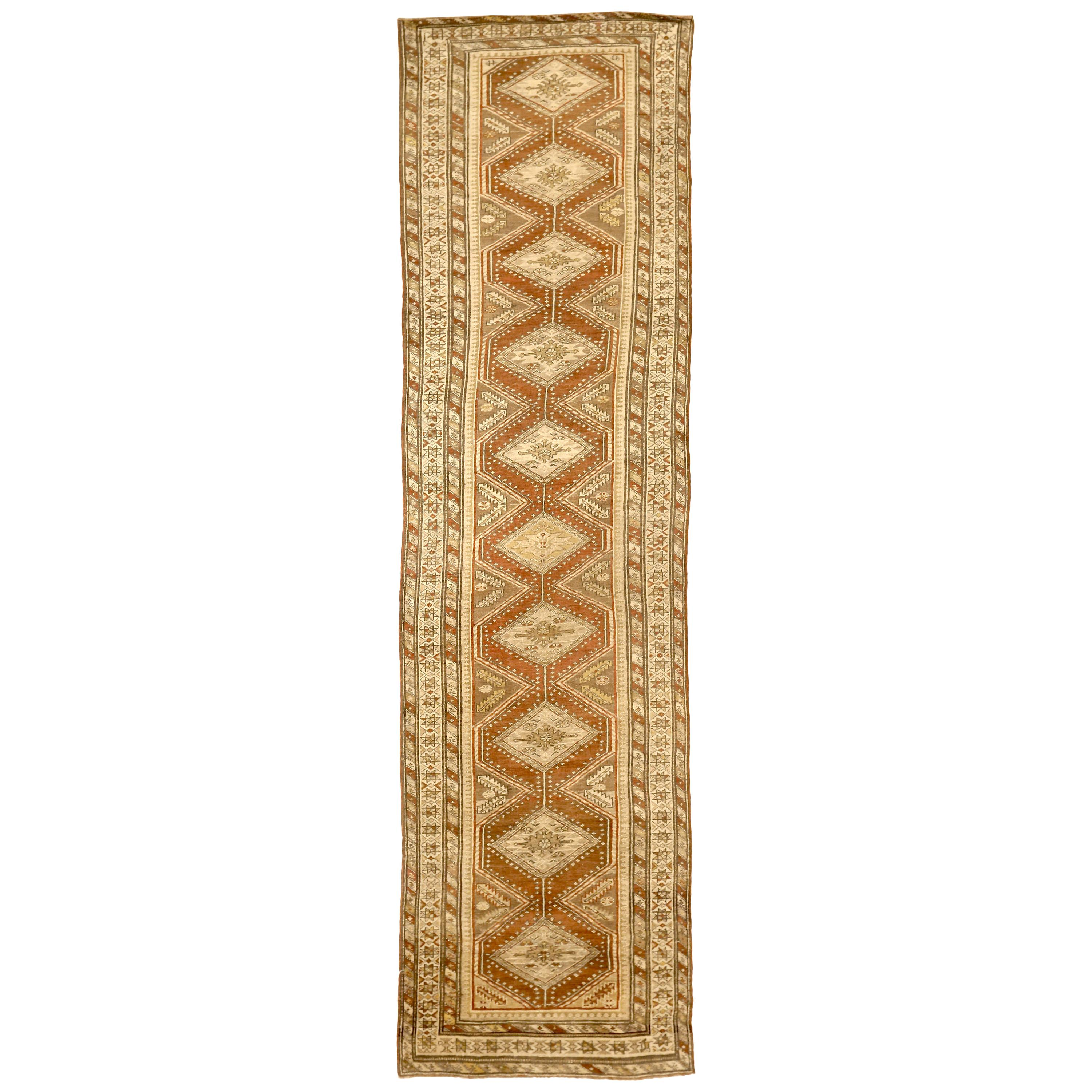 Antique Persian Malayer Runner Rug with Geometric Patterns Orange Field