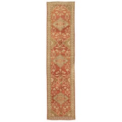 Antique Persian Malayer Runner Rug with Ivory and Green Floral Patterns