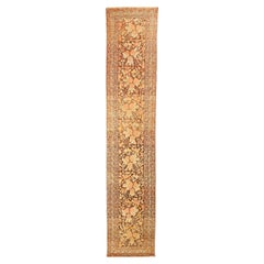 Antique Persian Malayer Runner Rug with Ivory & Pink Flower Details