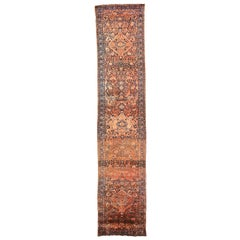 Antique Persian Malayer Runner Rug with Navy and Black Floral Details All-Over