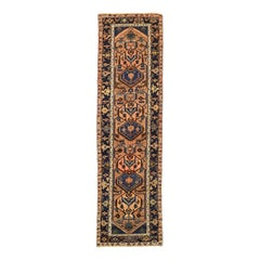 Antique Persian Malayer Runner Rug with Navy Blue and Brown Tribal Details