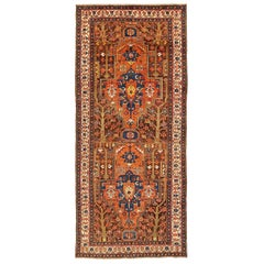 Antique Persian Malayer Runner Rug with Navy & Orange Central Medallions