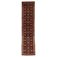Antique Persian Malayer Runner Rug with Navy & Red Floral Motif on Black Field