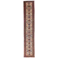Persian Malayer Runner Rug with Navy and Red Floral Motifs on Ivory Field