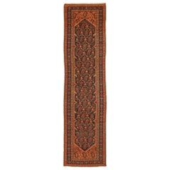 Antique Persian Malayer Runner Rug with Pink & Brown 'Boteh' Details