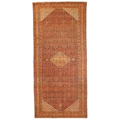 Antique Persian Malayer Runner Rug with Red & Black Allover Flower Details