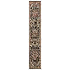 Antique Persian Malayer Runner Rug with Red and Blue Floral Details All-Over