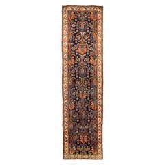 Antique Persian Malayer Runner Rug with Tribal Details in Red, Blue and Ivory