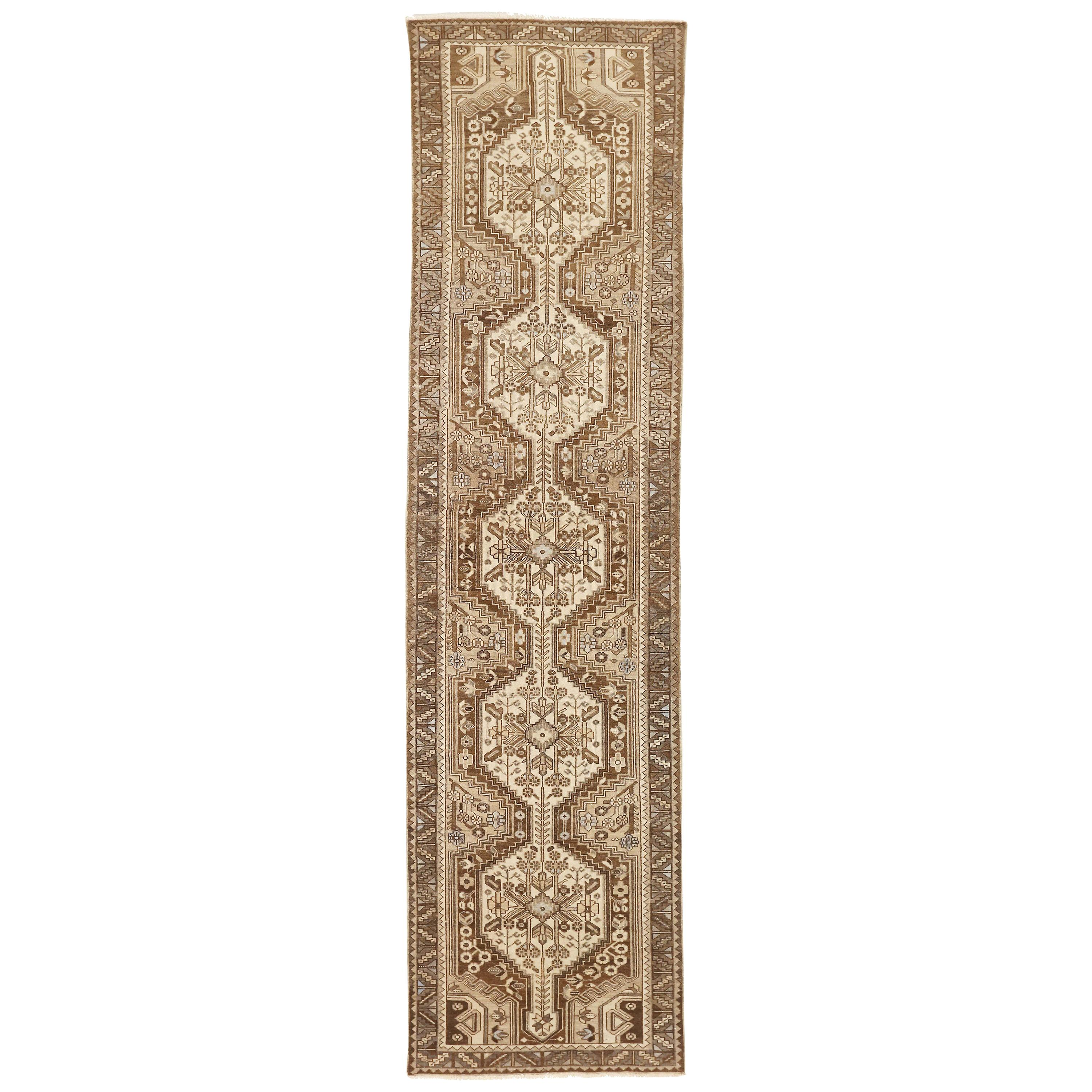 Antique Persian Malayer Runner Rug with White and Brown Floral Patterns on Ivory