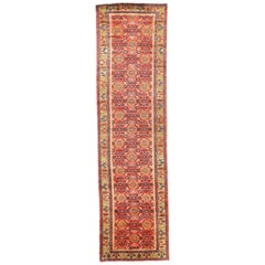 Antique Persian Malayer Runner Rug with Yellow and Blue Floral Patterns