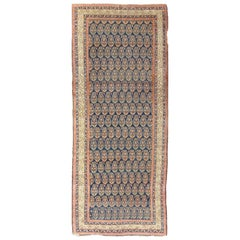 Antique Persian Malayer Runner with Paisley Design in Midnight Blue Background