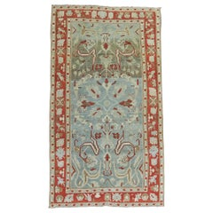 Antique Persian Malayer Sky Blue Red Border Rug