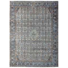 Antique Persian Malayer Unique Rug in Steel Blue Border and Ivory Background