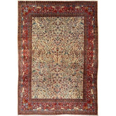 Antique Persian Manchester Kashan Rug with Forest Garden Design