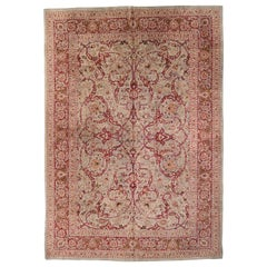 Antique Persian Mashad Rug with Pink and Red Flowers, circa 1950s