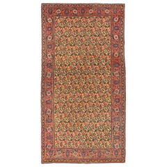 Antique Persian Mashad Rug with Pink & Green Floral Details on Yellow Center Fie