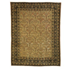 Antique Persian Mashhad Rug with Shabby Chic Rustic European Cottage Style